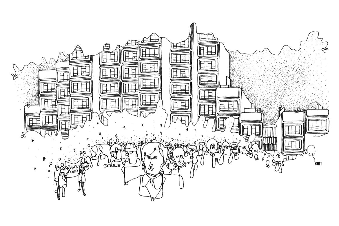 A Richard Briggs drawing features Myra (center) and the Sirius community.