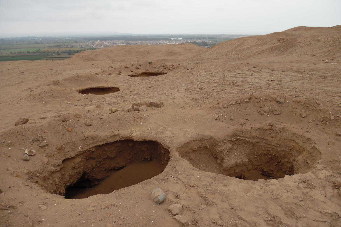 Large holes indicate looting at Cerro de Oro.
