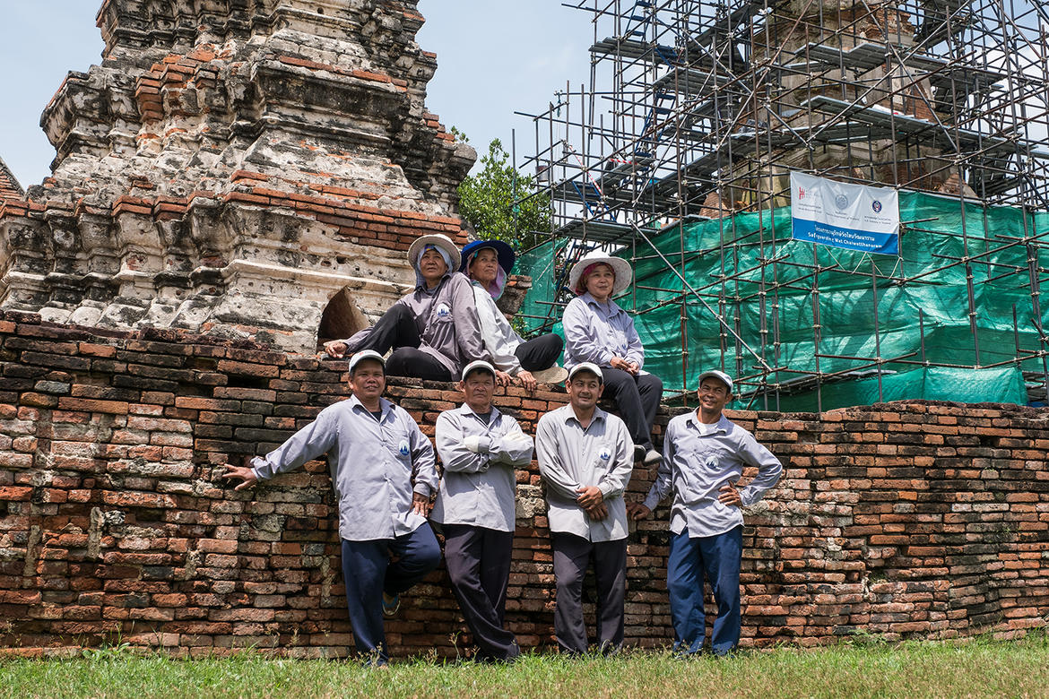 Seven WMF technicians at Wat Chaiwatthanaram, 2017.