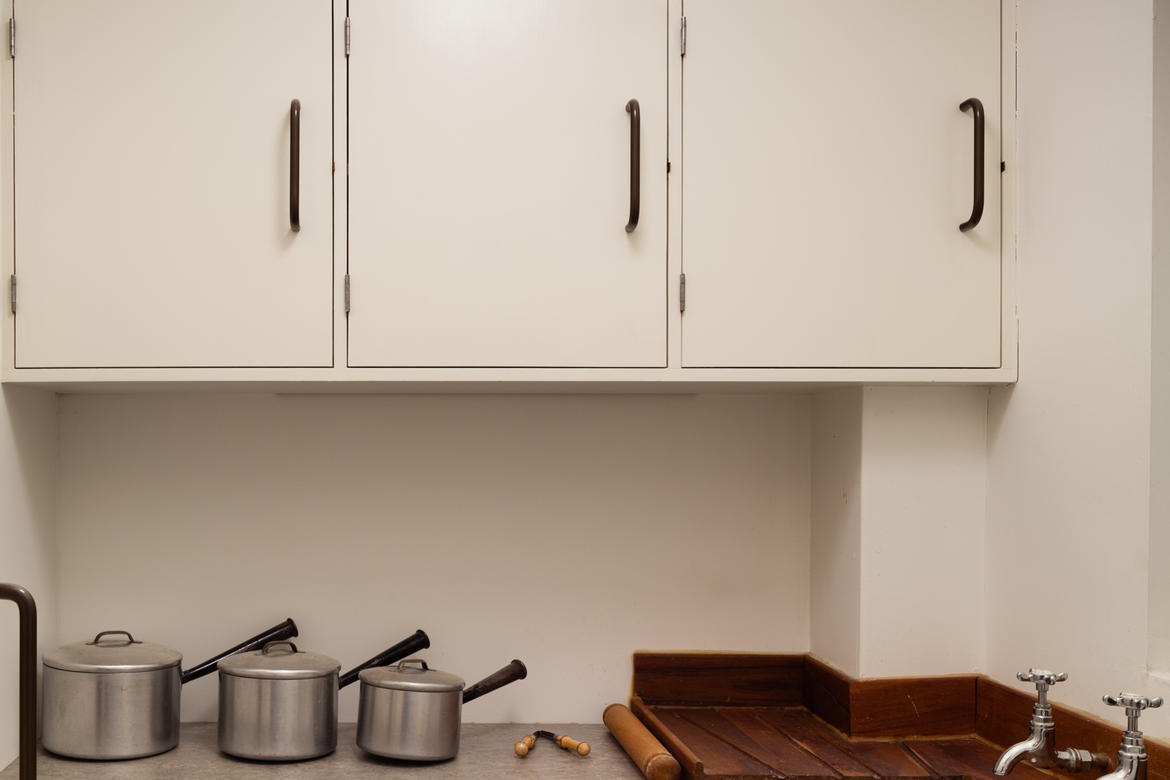 An archetypal kitchen is set up in the Isokon Gallery to give a feel for the interior residential spaces.