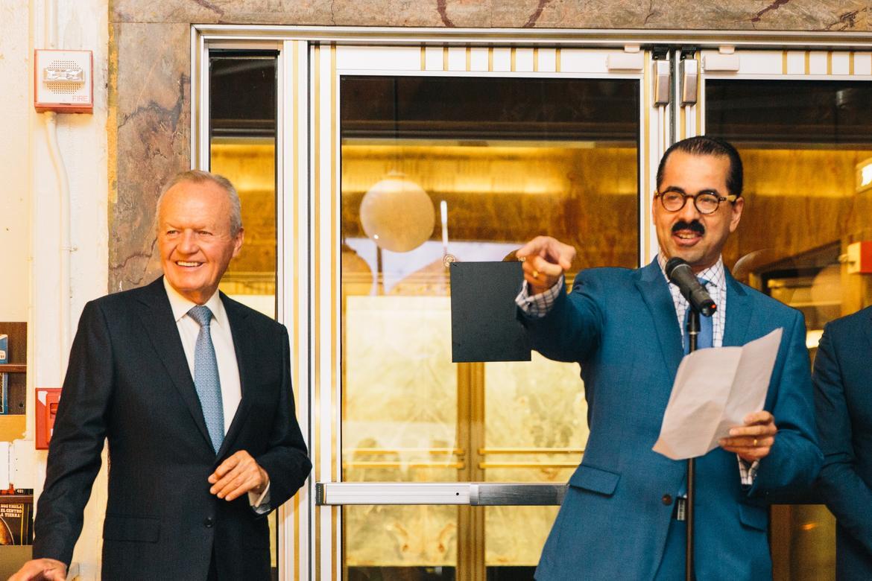 Roberto Hernández Ramírez and Richard Brown announce funds for Monte Albán.