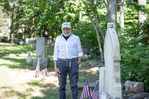 Frank Sanchis at the African-American Cemetery in Rye, New York, in June 2021.