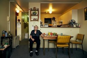 Myra in her living room at Sirius.