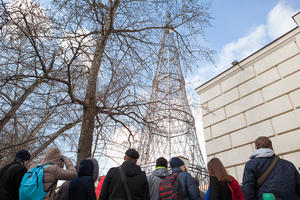 Participants on a tour of Shukhov Tower on Watch Day, 2016