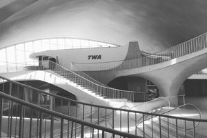 Eero Saarinen's Flight Center opened as the main terminal for Trans World American Airlines in 1962