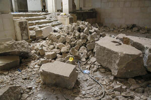The Assyrian Hall covered in rubble, April 2019.