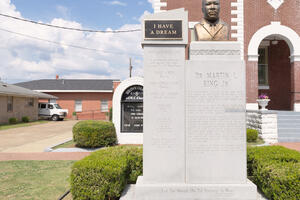 A statue of Dr. Martin Luther King, Jr. outside Brown Chapel AME Church in Selma, Alabama. Photo by William Abranowicz.