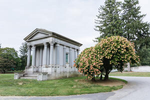 View of a Mausoleum at Woodlawn Cemetery