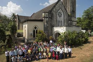 The congregation outside of the First Baptist Church, 2016