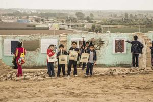 Local children attend Watch Day at 2018 World Monuments Watch site Cerro de Oro south of Lima, Peru.