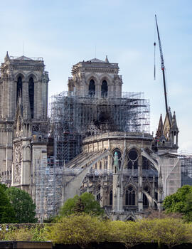 Notre-Dame of Paris after a devastating fire, 2019
