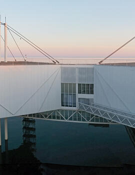 Each Pod is suspended from a central support sunk into the bed of Lake Ontario, 2014.