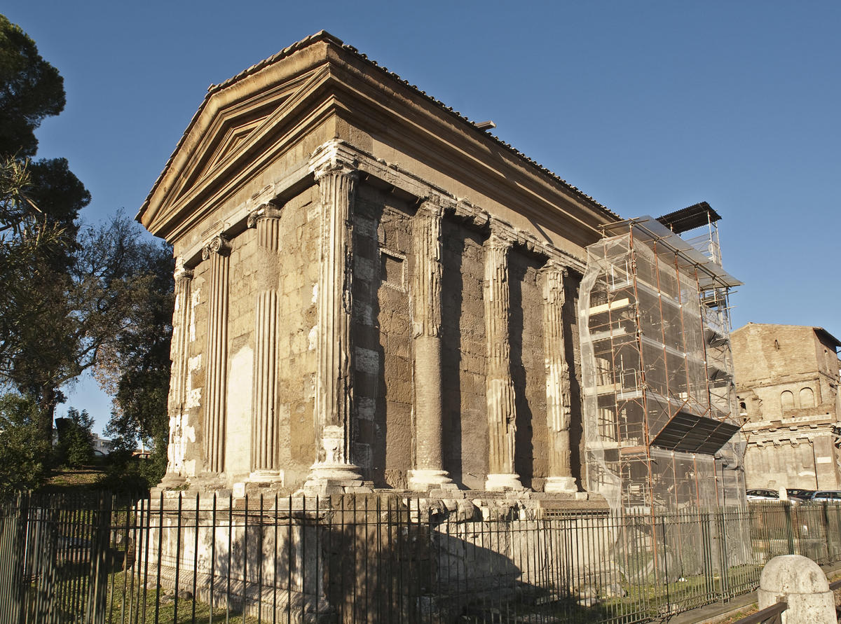 temple of portunus world monuments fund east elevation before conservation 2011