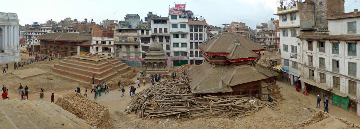 Panoramic view of the destruction in Kathmandu's Durbar Square, with the  collapsed Trailokya Mohan Narayan