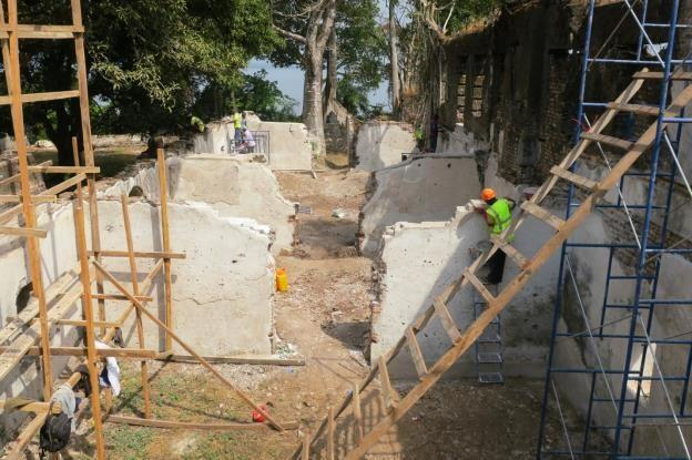 General view of progress to conserve the interiors of the main house at Bunce Island, 2020.