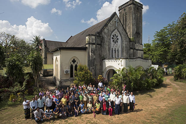 The congregation outside of the church, 2016. Photo: Tim Webster.