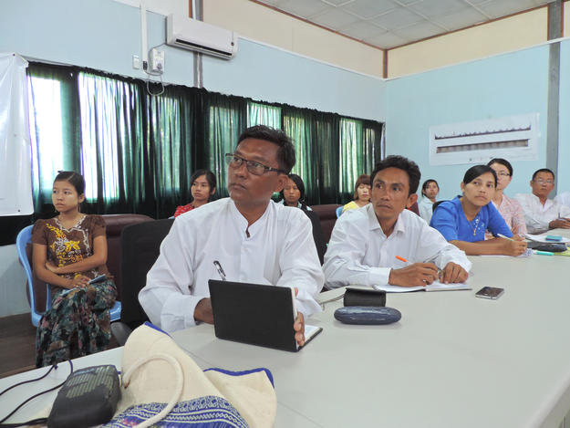 Myanmar Department of Archaeology staff during the laser scanning workshop, 2014