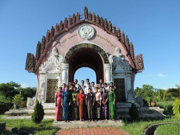 Training course attendees at the Department of Archaeology's Pyay Archaeological Field School, 2014