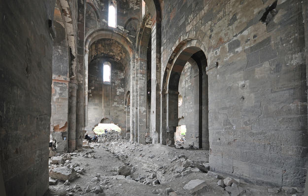 The damaged interior of the cathedral facing westward, 2015