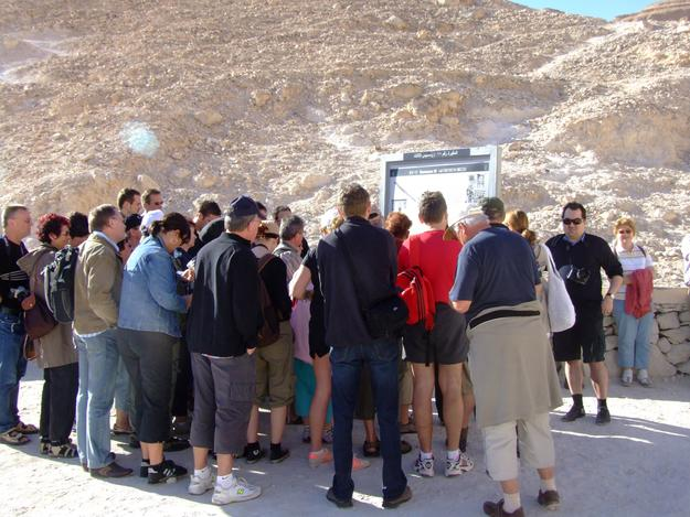 Visitors to Valley of the Kings enjoy informational signage, 2008