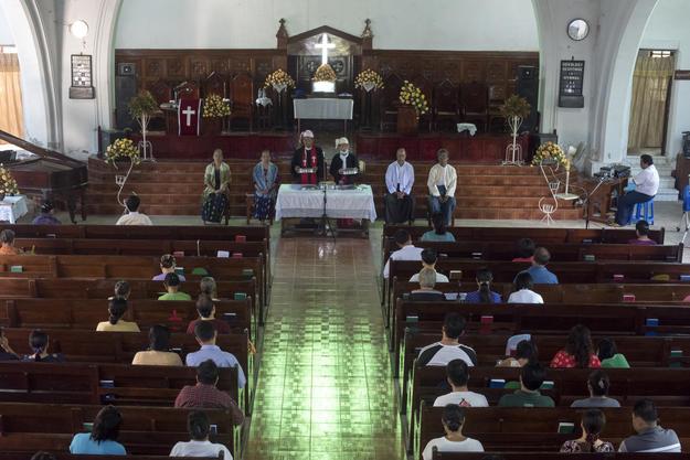 The congregation celebrating mass in 2016. Photo: Tim Webster.