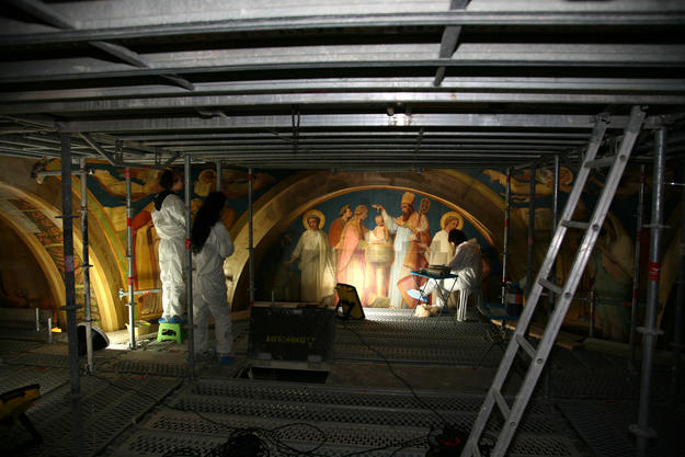 Scaffolding allows restorers to reach the historic painted decorations in the Baptistery Chapel,  2015