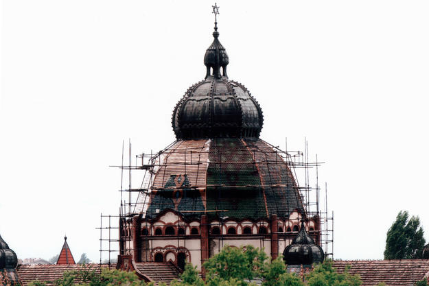 Central cupola of Subotica Synagogue during restoration, showing installation of tiles in progress, 2006