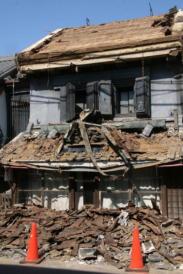 Shobundo house damaged by the great earthquake