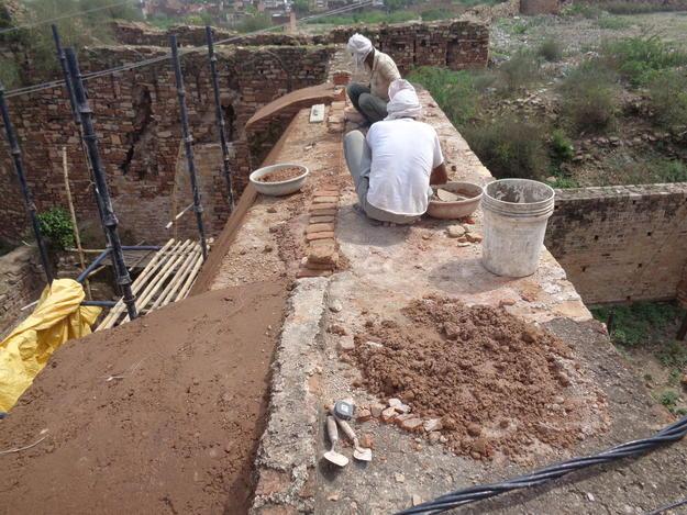 Fortification wall under restoration