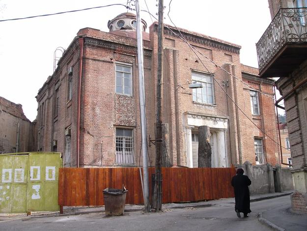 The synagogue site was fenced during stabilization works, 2005
