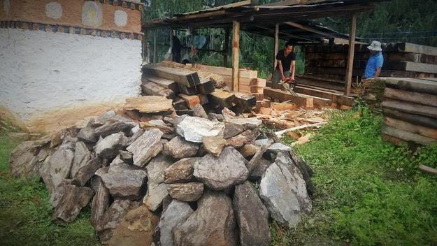 Local materials from the mountains are being used in conservation work, 2016