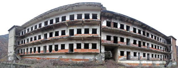 The former cell block buildings, exposed to the elements and having lost most of its fixtures, as with most buildings of the complex, 2013