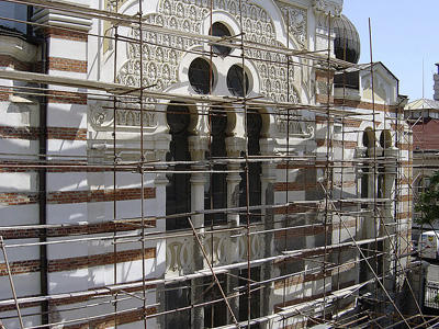 Exterior with scaffolding, 2004