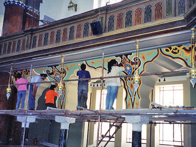 Conservators at work, 2002