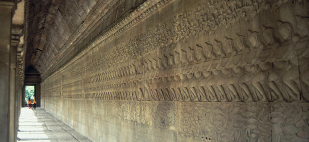 View of the 49 meters of intricately sculpted bas-reliefs, 1996