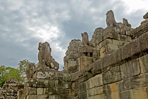 Lion sculptures on the east elevation, 2011