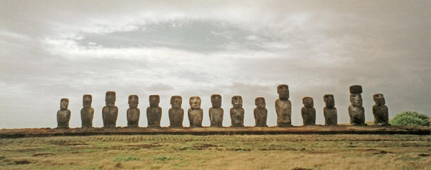 Moai at Ahu Tongariki, the largest ahu grouping on the island , 2003