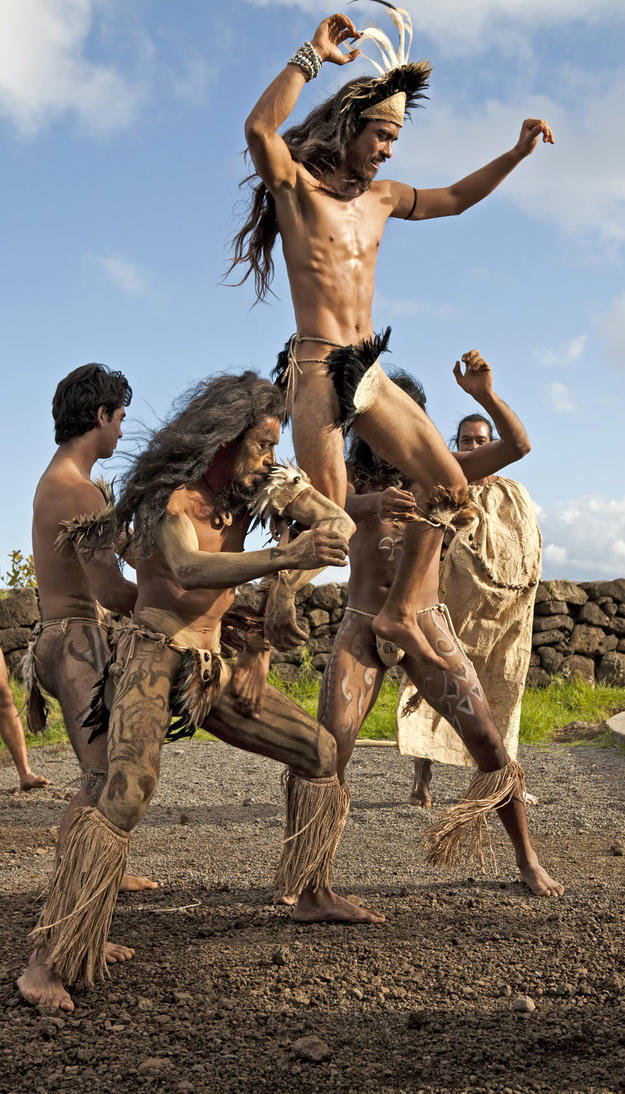 Tangata Manu reenactors at the Visitor Center's inauguration, 2011