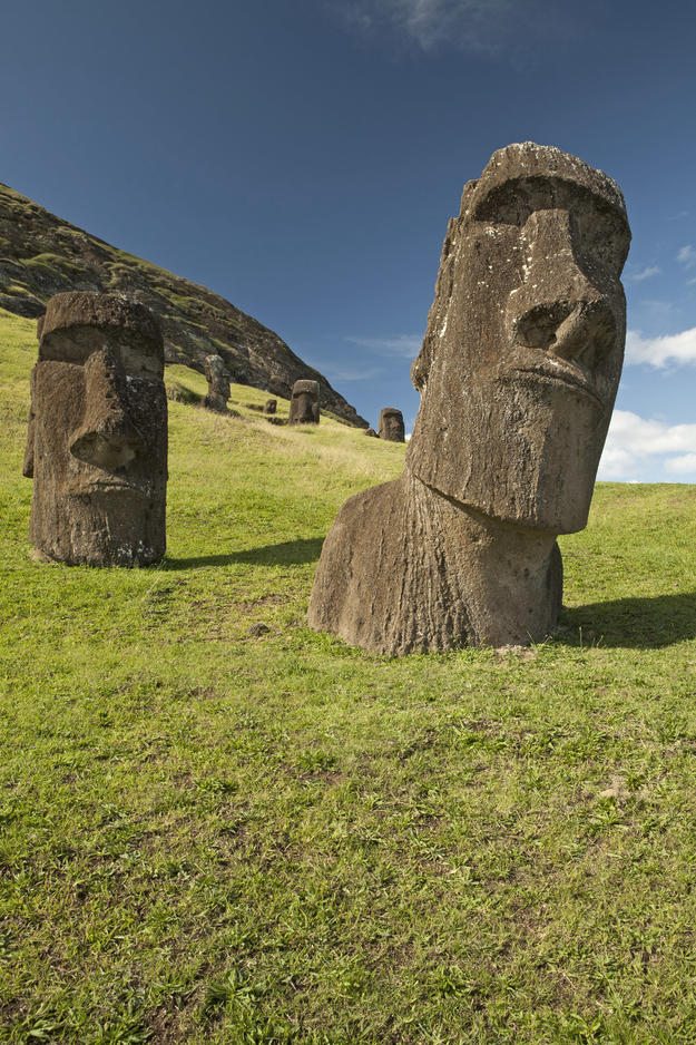 Two iconic moai at Rano Raraku, 2011