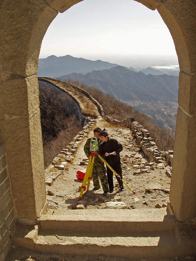 Conservators assess the towers at the Great Wall, 2004