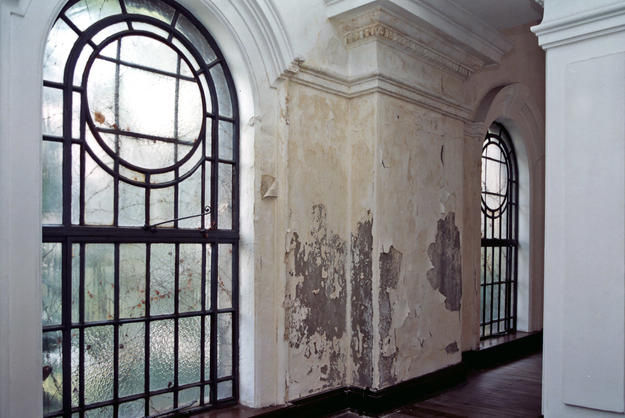 Interior wall with damage and peeling paint, 2001
