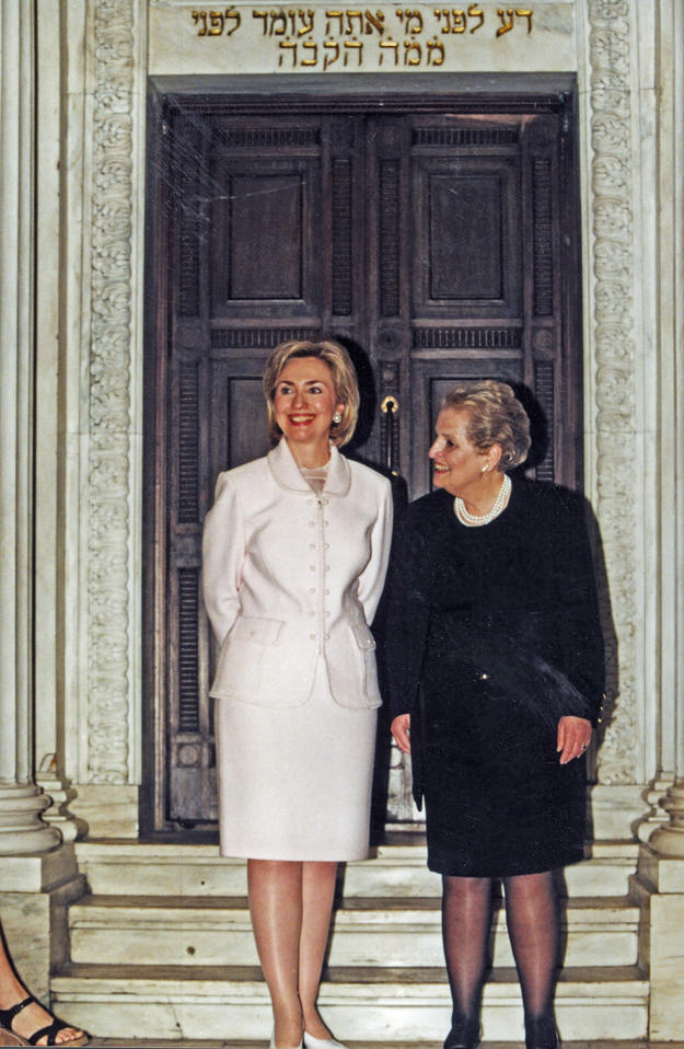 First Lady Hillary Clinton and Secretary of State Madeleine Albright toured the synagogue , 1998