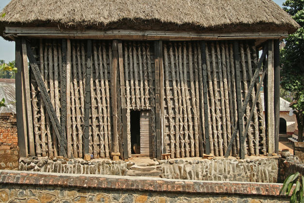 The Achum Shrine, made with wood and bamboo and covered with thatch, 2008