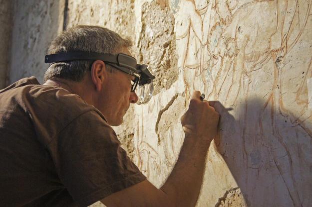 Werner Schmid conserving of the Forty Martyrs of Sebaste fresco, 2012