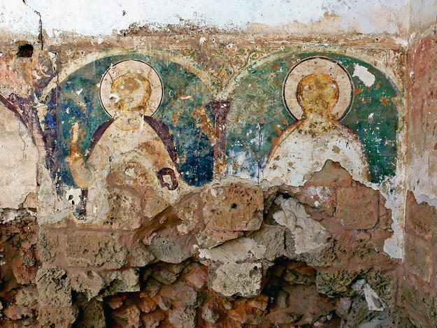 Damaged frescoes in St. Anne's Church, 2008