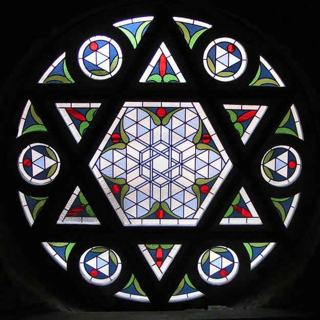 View from the interior through the stained glass window, 2004