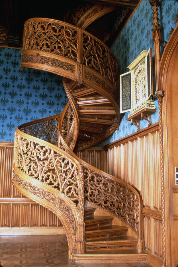 The spiral staircase in the library at Lednice Castle, 1994