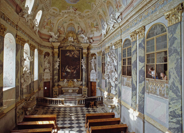 Interior of Vatice Chapel, before conservation , 1994