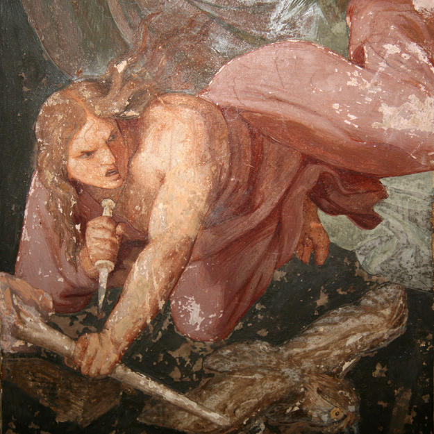 Painting detail, before conservation, 2011