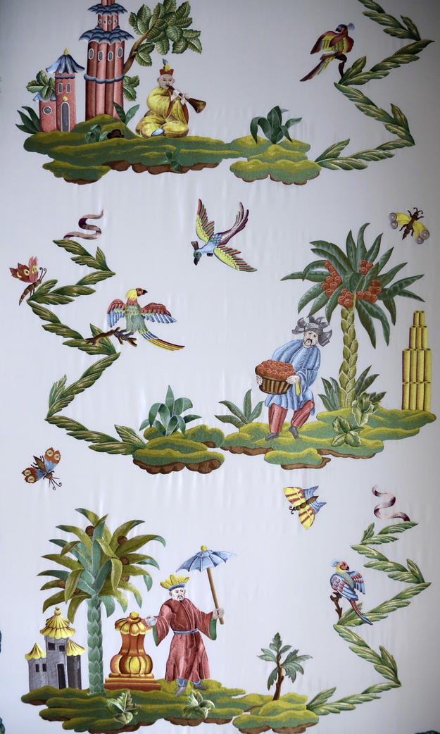 Detail of the wall covering, after conservation, 2013